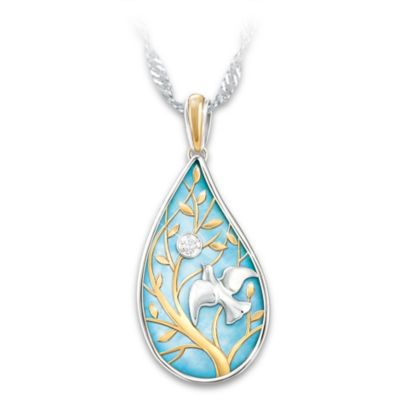 Wings Of Peace Diamond Pendant Necklace