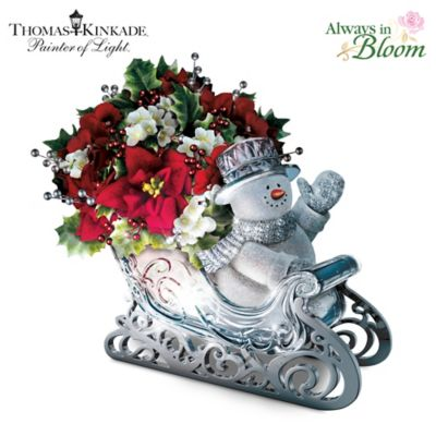 Thomas Kinkade Delivering Holiday Cheer Table Centerpiece