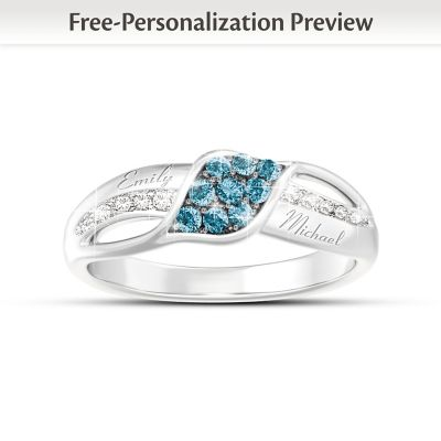 Waves Of Love Personalized Diamond Ring