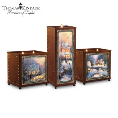 Thomas Kinkade A Warm Winter's Glow Candleholder Set