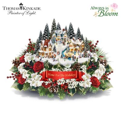 Thomas Kinkade Home For The Holidays Table Centerpiece