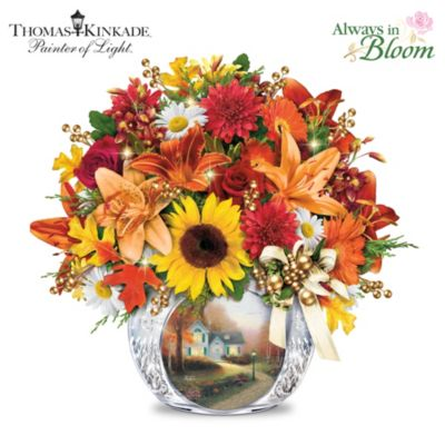 Thomas Kinkade Autumn's Golden Glow Table Centrepiece