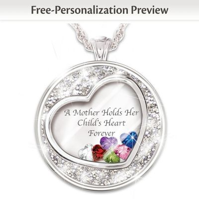 Mother Holds Her Child's Heart Personalized Pendant Necklace
