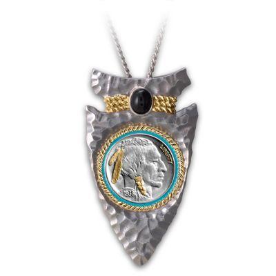 Mens Necklace Indian Head Nickel Arrowhead Pendant Necklace