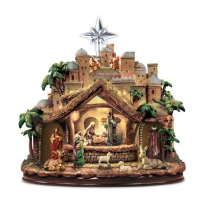 Thomas Kinkade Following The Star Nativity Sculpture
