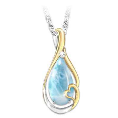 Heaven In My Heart Larimar And Diamond Pendant Necklace