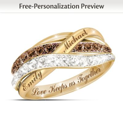 Together In Love Personalized Mocha And White Diamonds Womens Ring