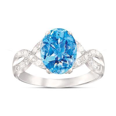 Summer Breeze Swiss Blue Topaz & Diamond Ring