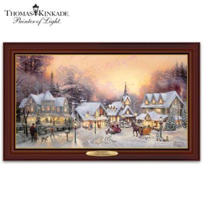 Thomas kinkade village christmas canvas print wall decor for Home interiors thomas kinkade prints