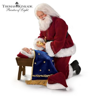 Thomas Kinkade Glory To The Newborn King Santa Doll