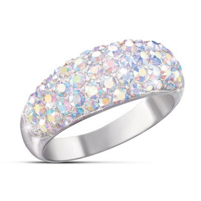 Aurora Borealis Solid Sterling Silver Swarovski Crystal Ring
