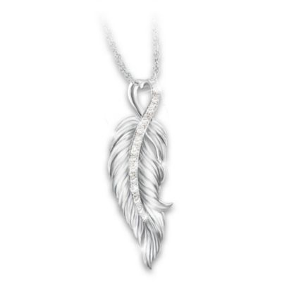 When Angels Are Near Diamond Pendant Necklace