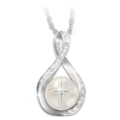 God's Pearl Of Wisdom Diamond Pendant Necklace