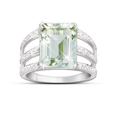 Sheer Radiance Green Amethyst & Diamond Ring