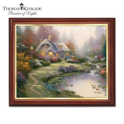 Thomas kinkade wooden framed canvas print wall decor - Home interiors thomas kinkade prints ...