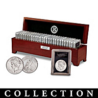 Uncirculated Morgan And Peace Silver Dollar Coin Collection