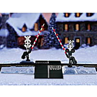 Winter Crossing Gate And Block Train Accessory