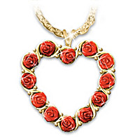 The Dozen Roses Heart Pendant Necklace