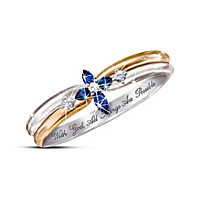 The Trinity Sapphire And Diamond Cross Women's Ring