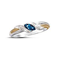 Sapphire & Diamond Embrace Ring