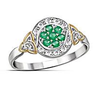 Trinity Knot Emerald & Diamond Ring
