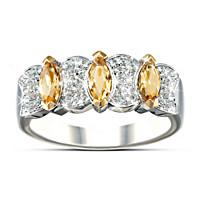 Sophistication Diamond & Yellow Sapphire Ring