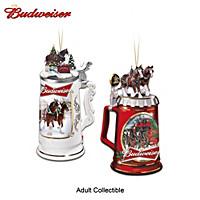 Budweiser Seasons Greetings Stein Ornament Set: Set One