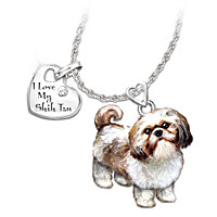 Playful Pup Shih Tzu Diamond Pendant Necklace