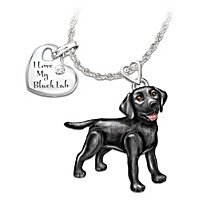 Playful Pup Diamond Pendant Necklace - Black Lab