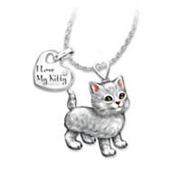 Grey Tabby Frisky Kitty Diamond Pendant Necklace