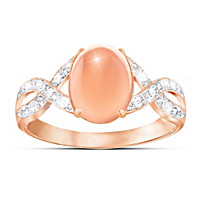 Sweet Sorbet Diamond And Peach Moonstone Ring