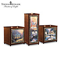 Thomas Kinkade A Warm Winter\'s Glow Candleholder Set