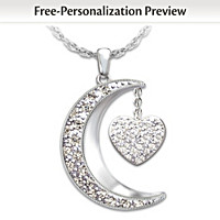 I Love My Family Personalized Diamond Pendant Necklace