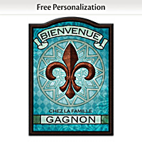 Fleur de Lis Personalized Welcome Sign - French Wording