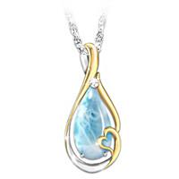 Heaven In My Heart Larimar And Diamond Pendant Necklace