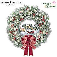 Thomas Kinkade A Holiday Homecoming Wreath