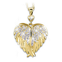 Guardian Angel Embrace Crystal And Diamond Pendant Necklace