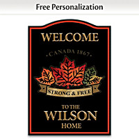 Strong & Free Personalized Welcome Sign