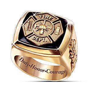 """The Firemen"" Men's 24K Gold-Plated Ring With Maltese Cross"