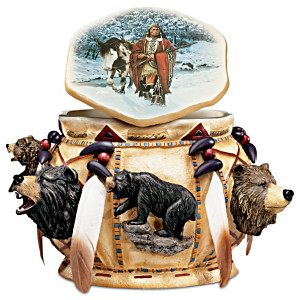 """""""Spirit Of The Bear"""" Box With Feathers And Beadwork"""