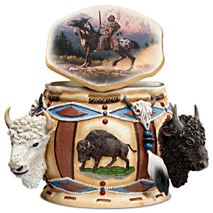 """Spirit Of The Buffalo"" Box With Feathers And Beadwork"