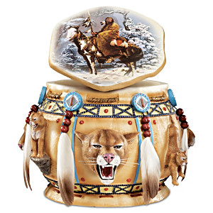 """Spirit Of The Cougar"" Box With Feathers And Beadwork"
