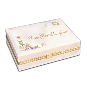 """""""Dear Granddaughter"""" Porcelain Music Box For Granddaughter"""