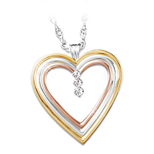 3-Diamond Tri-Color Heart Engraved Pendant Necklace