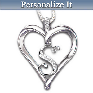 "Your Diamond Initial ""Love Letter"" Heart Pendant"