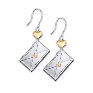"""Letter Of Love"" Pierced Diamond Earrings For Daughter"