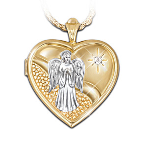 Guardian Angel Engraved Diamond Locket Pendant