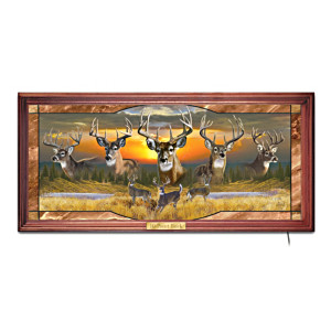 """Al Agnew """"10-Point Buck"""" Illuminated Stained-Glass Panorama"""
