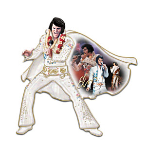 Vegas-Era Elvis Porcelain Wall Sculpture With Montage Art