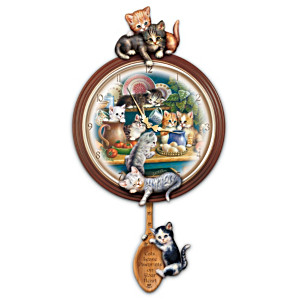 """Kitchen Capers"" Cat Art Wall Clock"